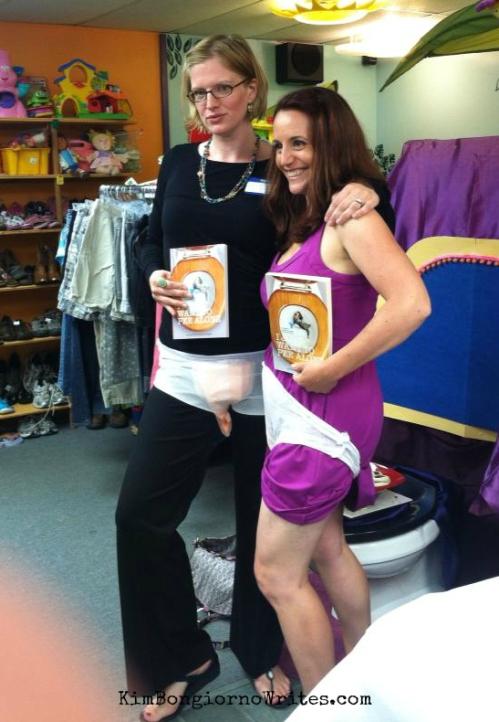 Kim of @LetMeStart and Bethany of @BPMBadAssMama model postnatal wear at VT #PeeAlone book event