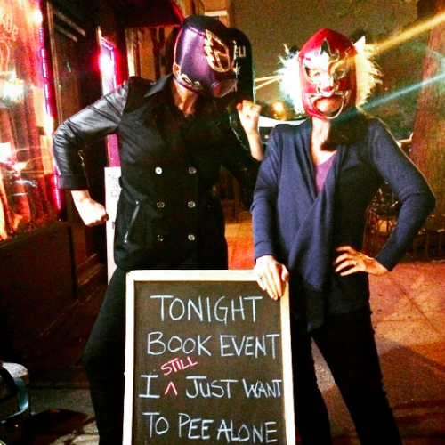 """Sometimes (as in never before), you have a book signing event at a great little shop where they happen to sell masks and the light behind you and @thekimbongiorno looks like a sci-fi movie. (And then you go home to the burbs.)"" - @fordeville via Instagram"